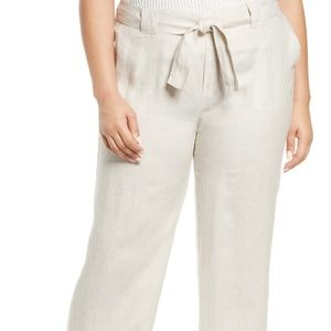 Caslon Belted Yarn Dyed Linen Pants, 2X, NWT